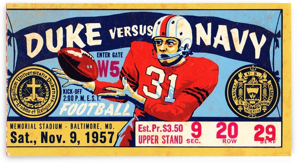 1957_College_Football_Duke vs. Navy_Memorial Stadium_Baltimore_Vintage Football Art College by Row One Brand