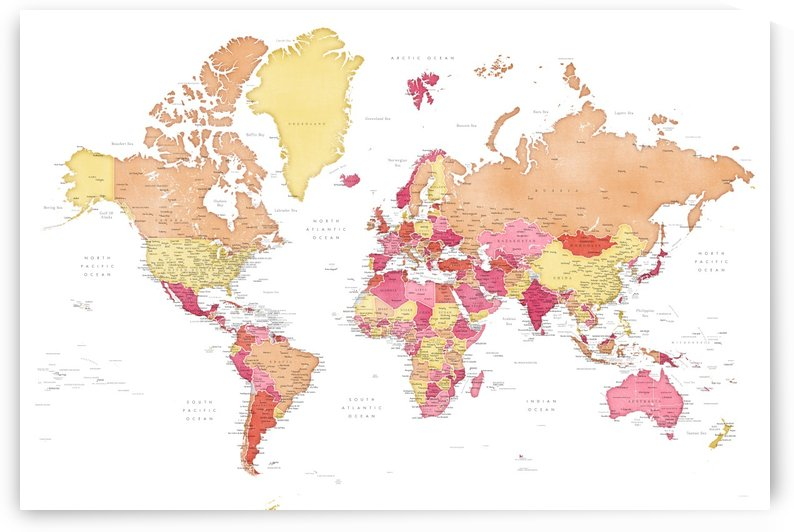 Detailed world map with cities in distressed red and orange by blursbyai