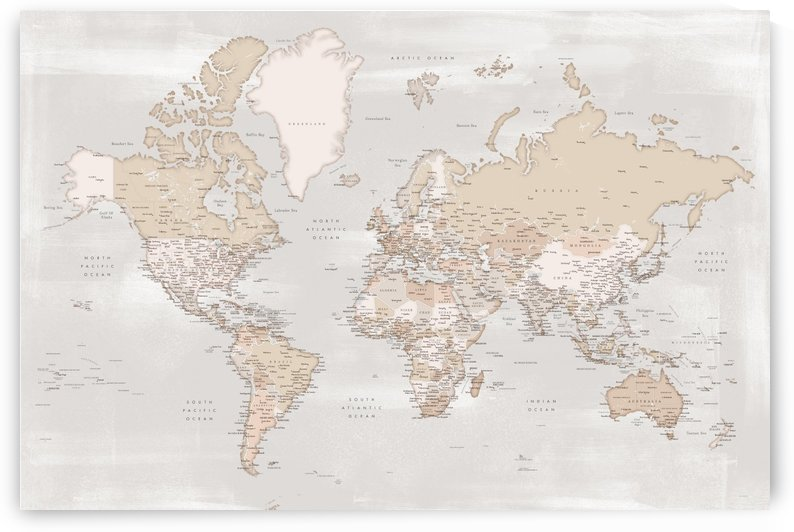 Detailed world map with cities in rustic farmhouse style by blursbyai
