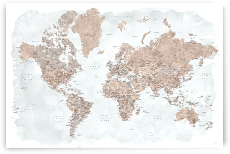 Detailed world map with cities in neutrals and grey watercolor by blursbyai