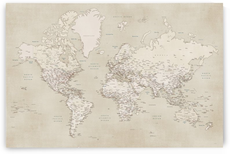 Detailed world map with cities in vintage style by blursbyai