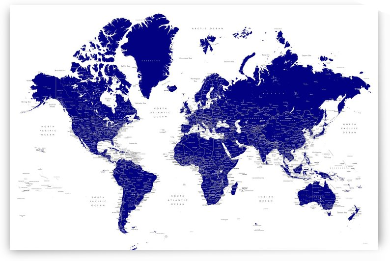 Detailed world map with cities in navy blue by blursbyai