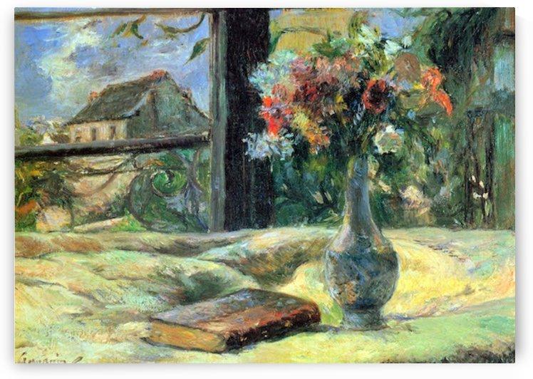 Flower Vase in Window by Gauguin by Gauguin