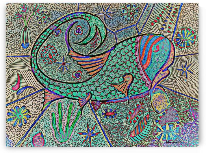 Abstract Fish  by Aurelia Schanzenbacher Sisters Fine Arts