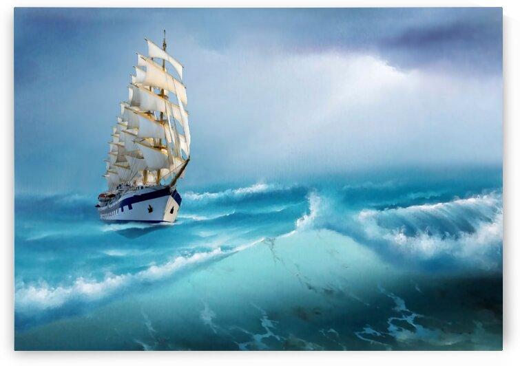 Sailing ship at sea storm by Radiy Bohem