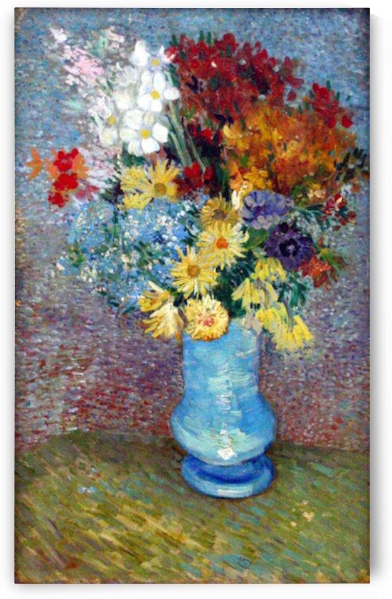 Flowers in a blue vase by Van Gogh by Van Gogh