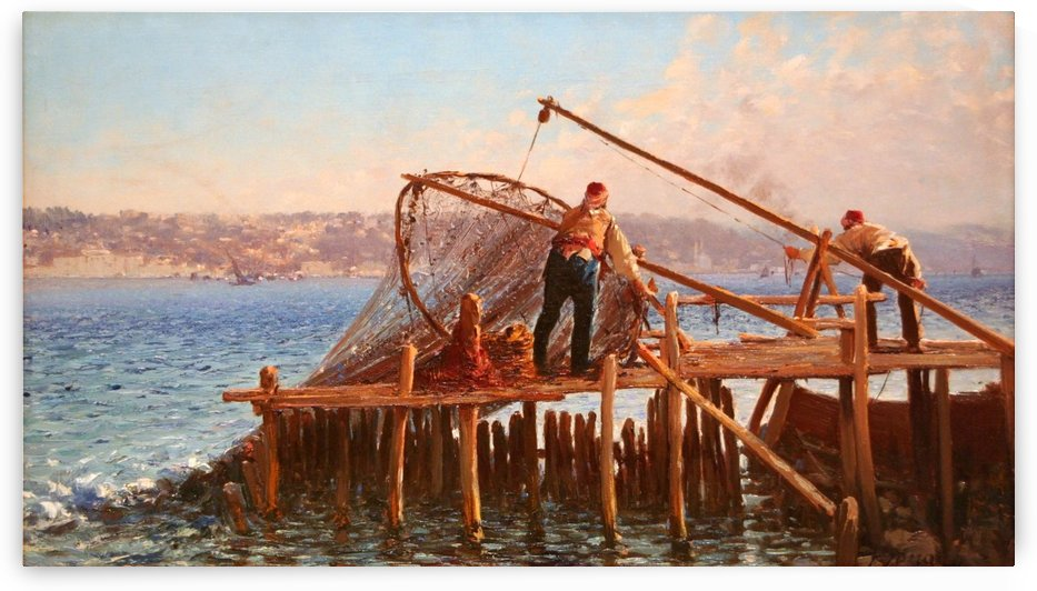 Fishermen Bringing in the Catch by Fausto Zonaro