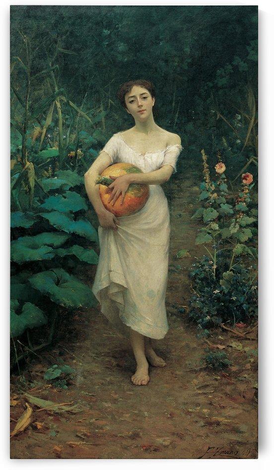 Young Girl Carrying a Pumpkin by Fausto Zonaro