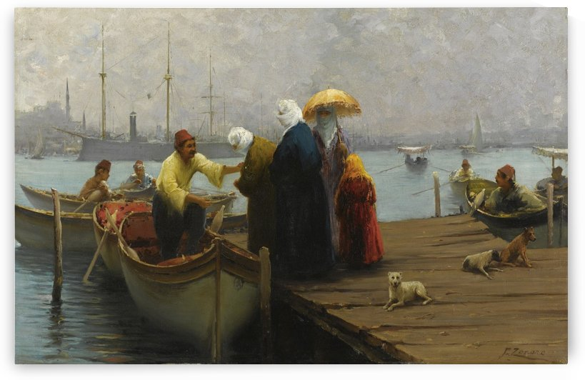 Travelling by boat by Fausto Zonaro