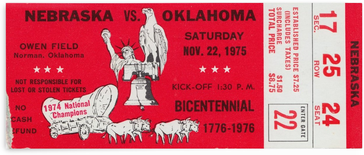 1975 Oklahoma Sooners National Champions_Oklahoma vs. Nebraska Ticket Stub Art_OU Ticket Stub by Row One Brand