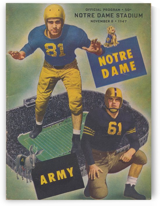 1947 Army vs. Notre Dame Football Program Cover Art_Vintage College Football Program (1) by Row One Brand