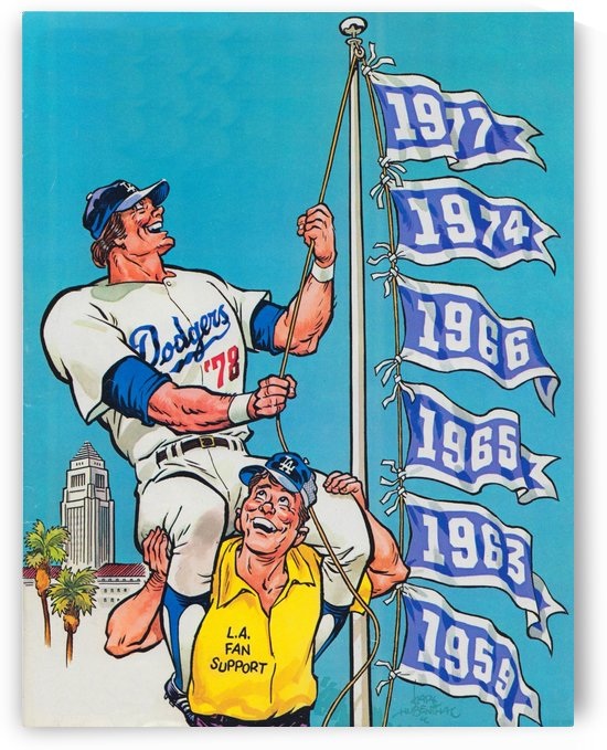 Los Angeles Dodgers Karl Hubenthal Art Reproduction (1978) by Row One Brand