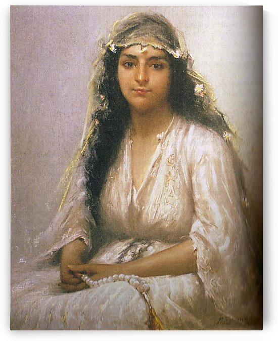 Portrait of a young lady in white by Fausto Zonaro