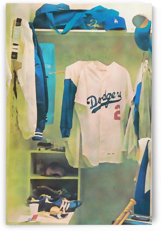 Vintage LA Dodgers Baseball Locker Room Art_Retro Baseball Art Print Los Angeles Dodgers Jersey_Art (1) by Row One Brand