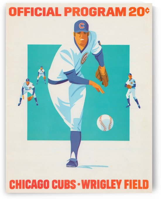 1975 Chicago Cubs Program Reproduction_Wrigley Field_Cubs Wall Art_Baseball Program Artwork by Row One Brand