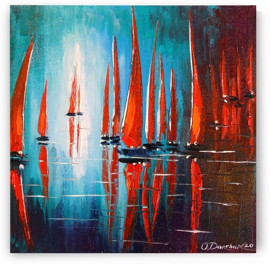 Sailboats on the roadstead by Olha Darchuk