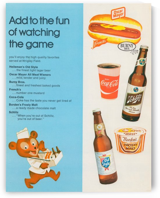 Vintage Chicago Cubs Wrigley Field Concessions Ad_Vintage Baseball Food Ad Reproduction by Row One Brand