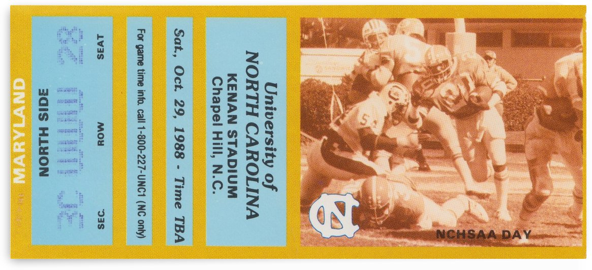 1988 college football maryland unc north carolina tarheels football ticket stub poster by Row One Brand