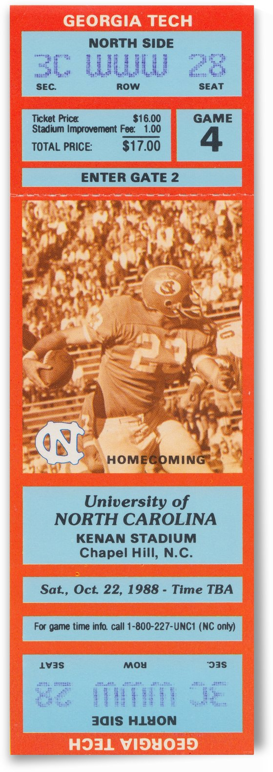 1988 North Carolina Football Homecoming Ticket Stub Art_Ticket Collection by Row One Brand