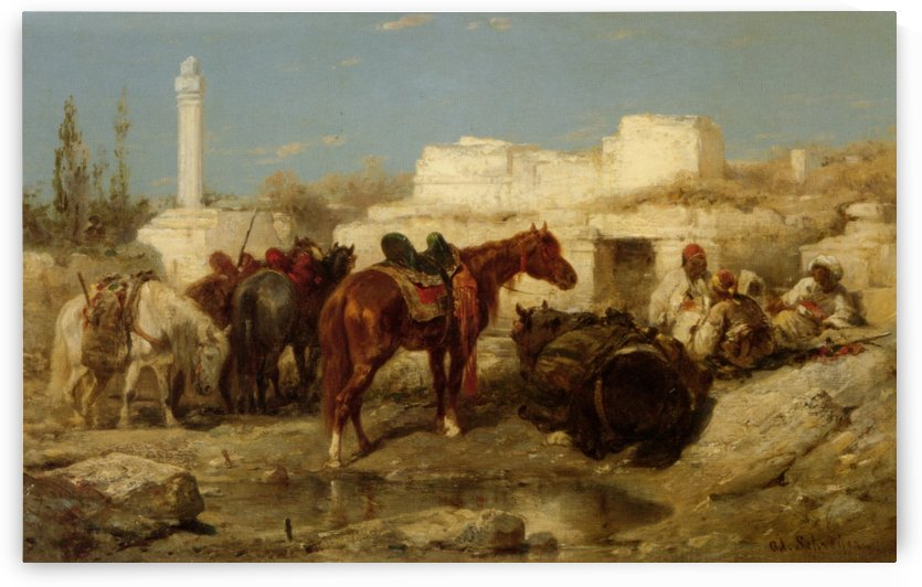 Horses at oasis by Adolf Schreyer