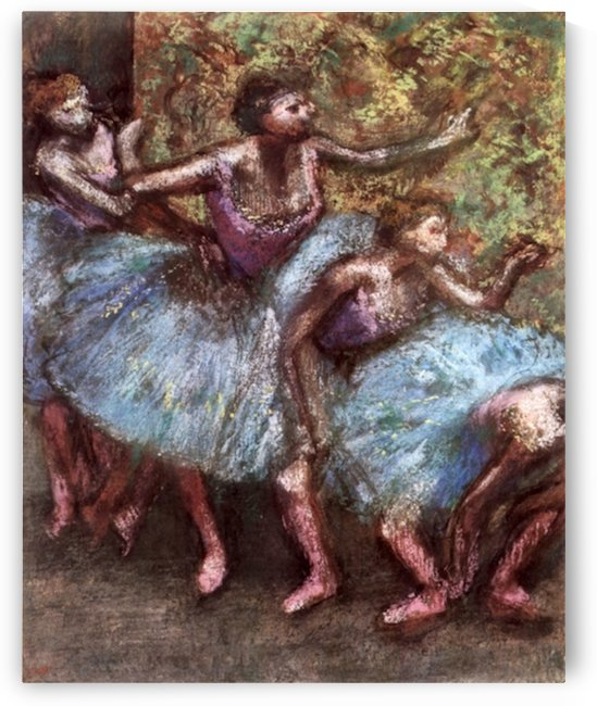 Four dancers behind the scenes 1 by Degas by Degas