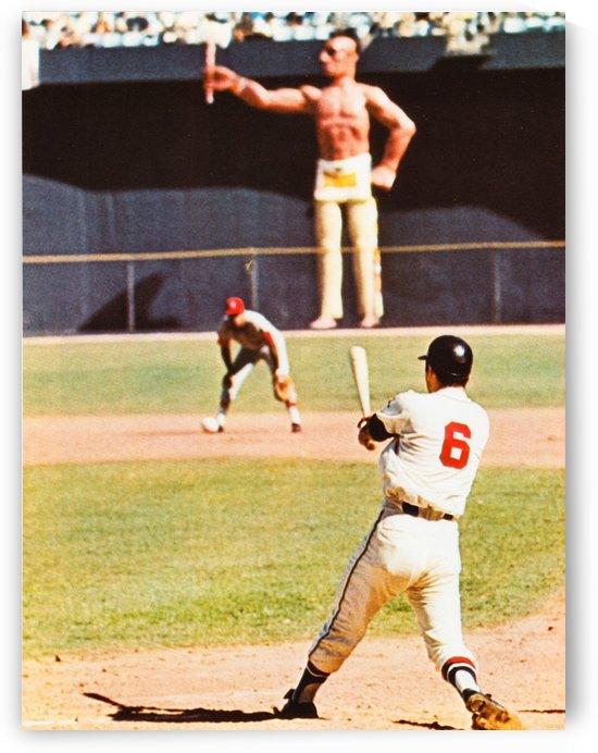 atlanta braves vintage baseball photo clete boyer poster by Row One Brand