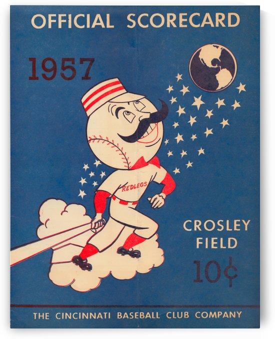 1957 cincinnati reds baseball scorecard poster by Row One Brand