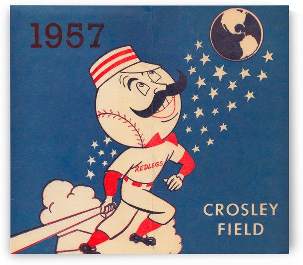 1957 cincinnati reds crosley field poster by Row One Brand
