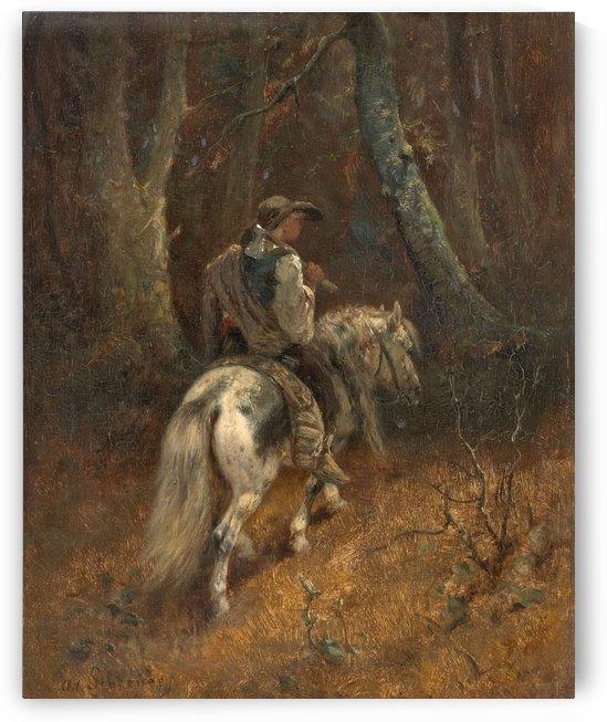 Reiter im Wald by Adolf Schreyer