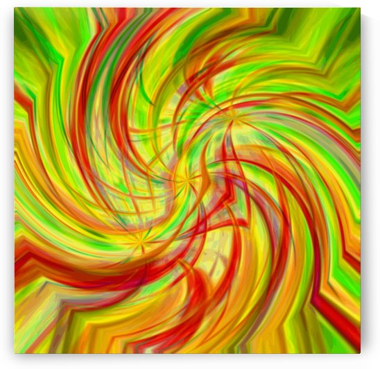 Triple Helix - red green yellow abstract circle wall art by Jaycrave Designs