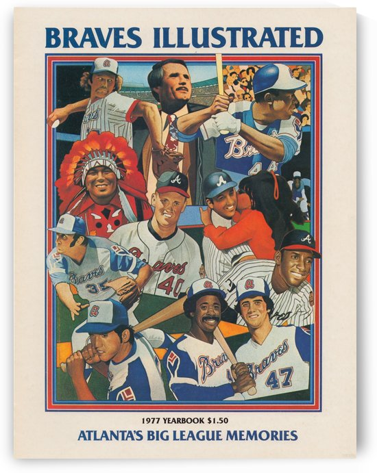 1977 Braves Illustrated Baseball Yearbook Cover Art Row One Brand by Row One Brand