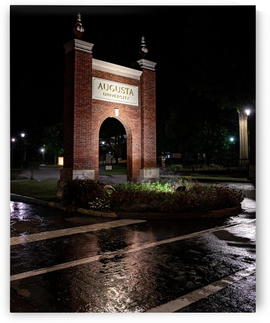 Augusta University Sign at Night GA 0429 by The Photourist - Sanjeev Singhal