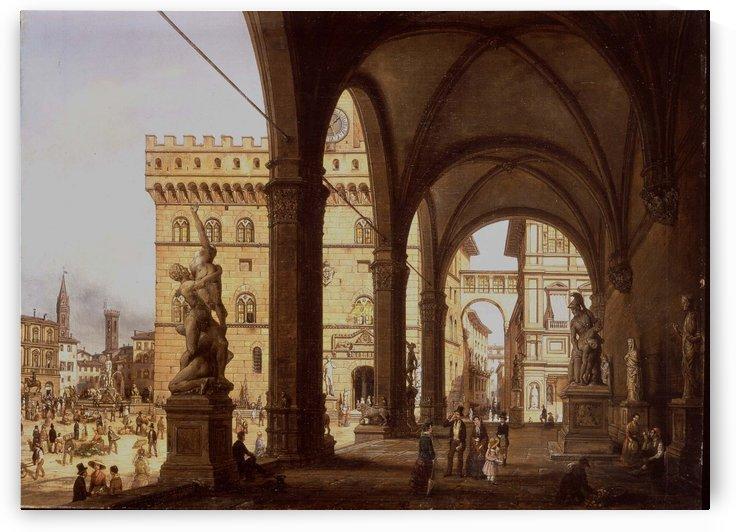 Loggia Dei Lanzi in Florence 1847 by Giuseppe Canella