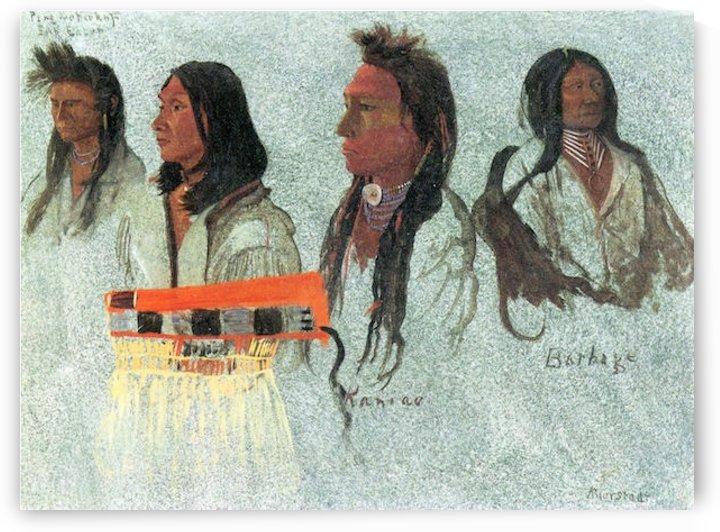 Four Indians by Bierstadt by Bierstadt