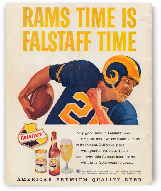 vintage falstaff beer ad la rams poster retro ads reproduction art by Row One Brand