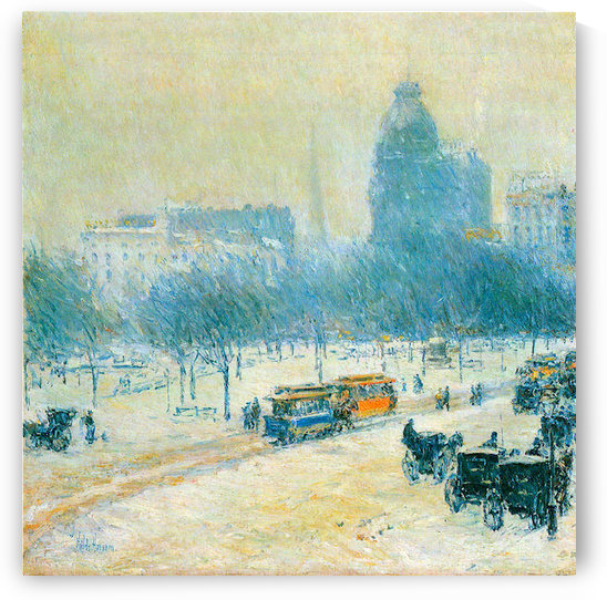Winter in Union Square by Hassam by Hassam