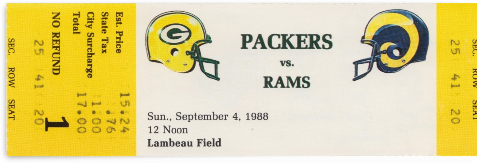 1988 nfl green bay packers la rams football ticket stub reproduction poster art by Row One Brand
