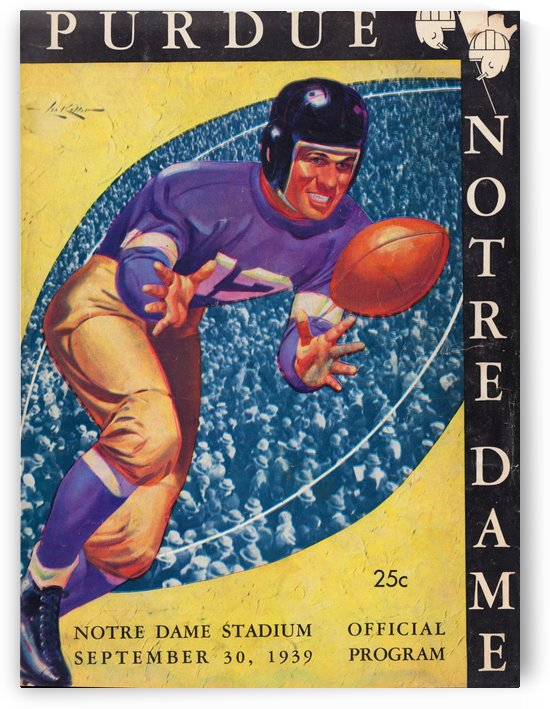 1939 college football art purdue notre dame irish vintage cover art poster lon keller artist by Row One Brand