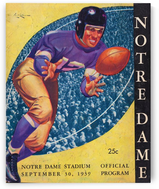 best vintage notre dame football cover art college gridiron posters by Row One Brand