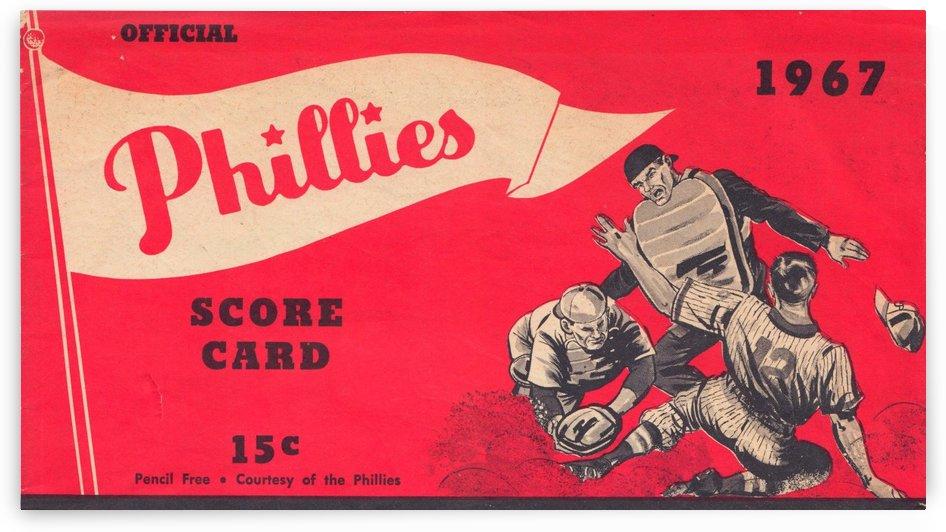 1967 philadelphia phillies score card poster print art reproduction vintage baseball by Row One Brand