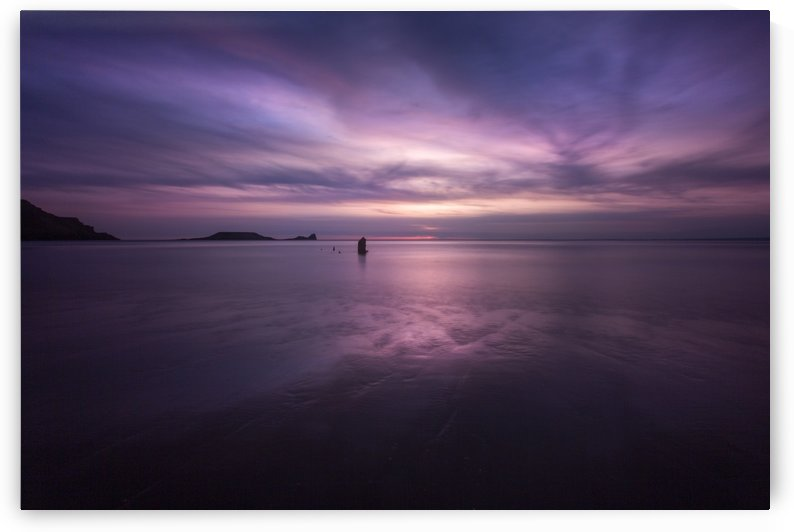 Sunset on Rhossili Bay South Wales UK by Leighton Collins