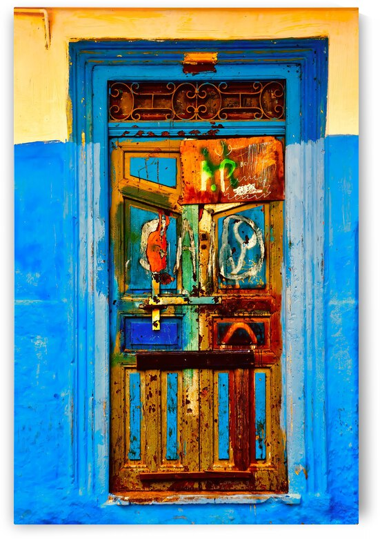 Painted Door in the Medina ... Tangier Morroco by Fred J Bivetto