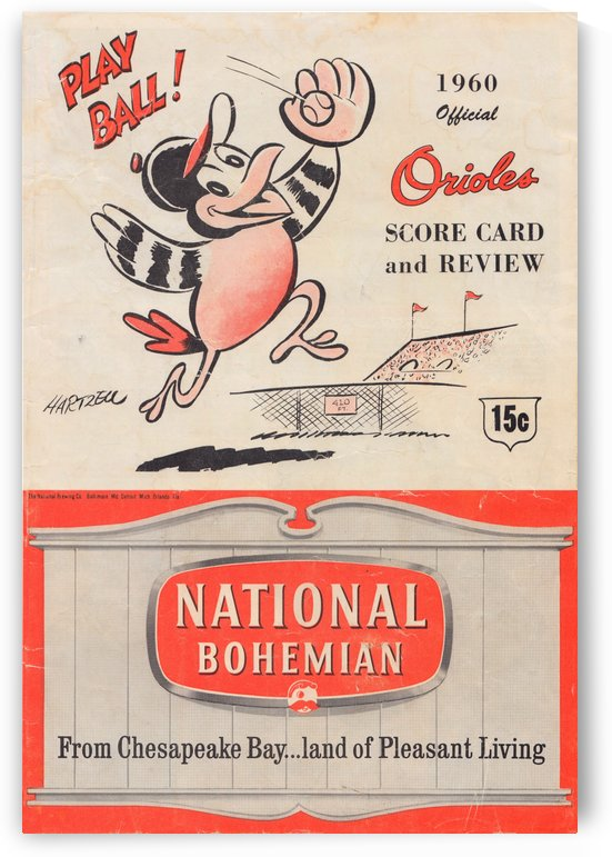1960 baltimore orioles baseball score card review national bohemian beer ad poster by Row One Brand