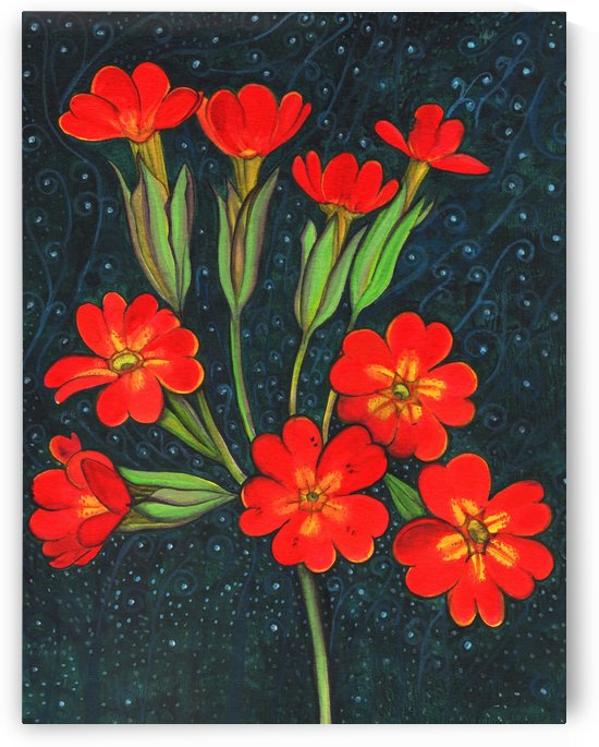 Red flowers shining in a magical starry night by CLAUDIA BRANDES