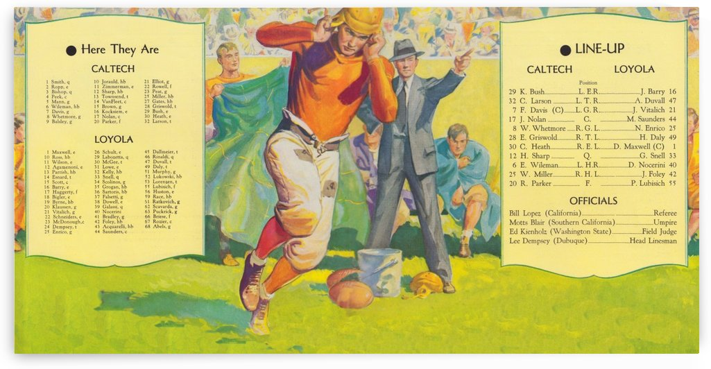 1935 college football season lineup cal tech loyola sideline art poster by Row One Brand