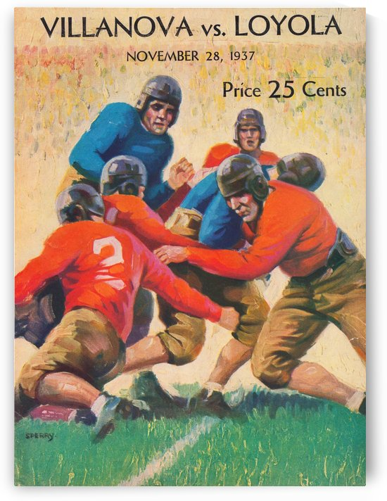 1937 College Football Villanova Wildcats vs. Loyola University of Los Angeles Lions Program Cover (1) by Row One Brand