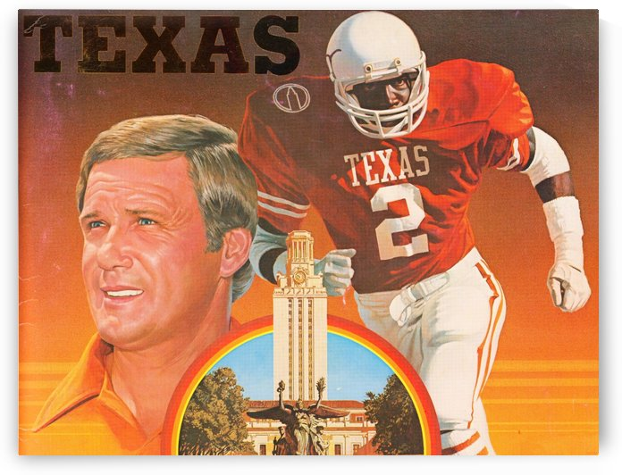 Vintage Texas Longhorns Football Art Poster by Row One Brand