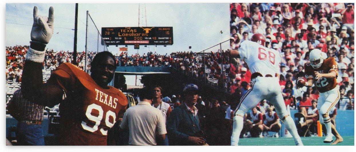 Texas Longhorns Poster_OU Texas Football Scoreboard Photo Poster by Row One Brand