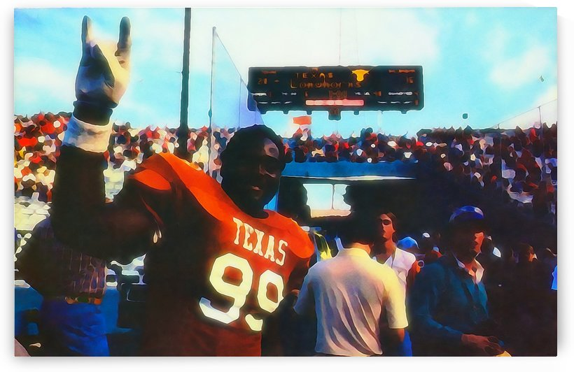 Texas Longhorns Football Art_Watercolor Style College Football Art Print by Row One Brand