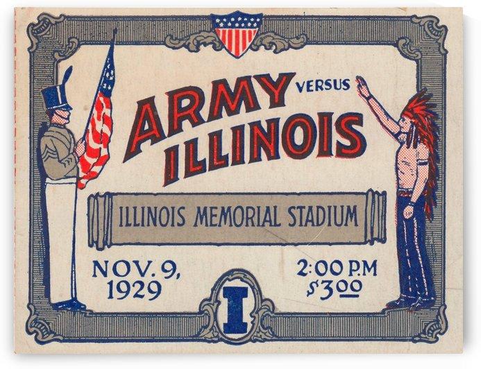University of Illinois Illini Football Ticket Stub Art Poster Print (1929) by Row One Brand
